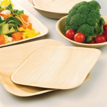Assiettes rectangulaires biodégradables en feuille de palme 25 pièces
