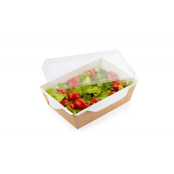 Combi Salad box karton kraft/wit  + PET deksel ( 50 stuks)