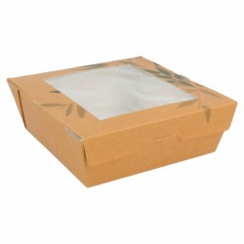 50 boites à salade en carton kraft/ blanc 12,5x12,5x5 CM