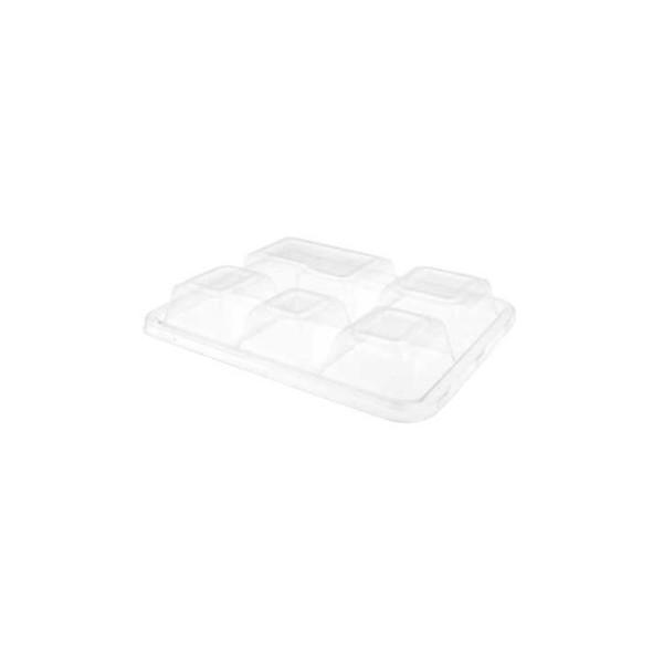 """Covercle pour plateau à 5 compartiments en bagasse """" BIONIC"""" biodégradable"""