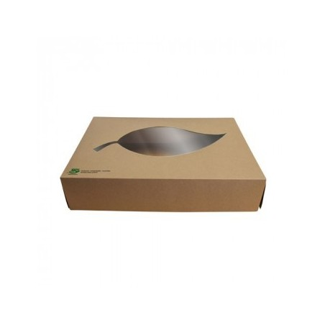 """Boîtes de traiteur en carton compostable avec fenêtre 100% """"FAIR""""( 10 pièces)"""