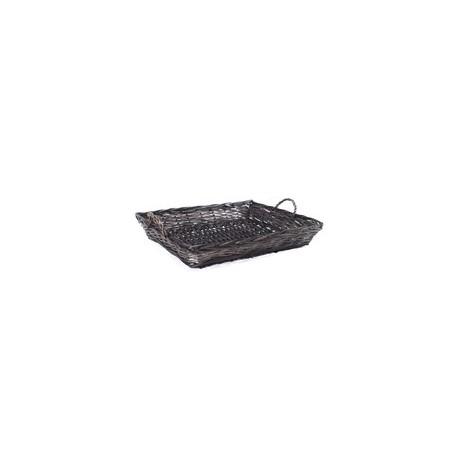 panier rectangulaire osier anthracite 52 x 40 cm