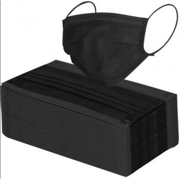 Wegwerpmondmasker Zwart 3-Laags Met Neusbrug 25 Stuks