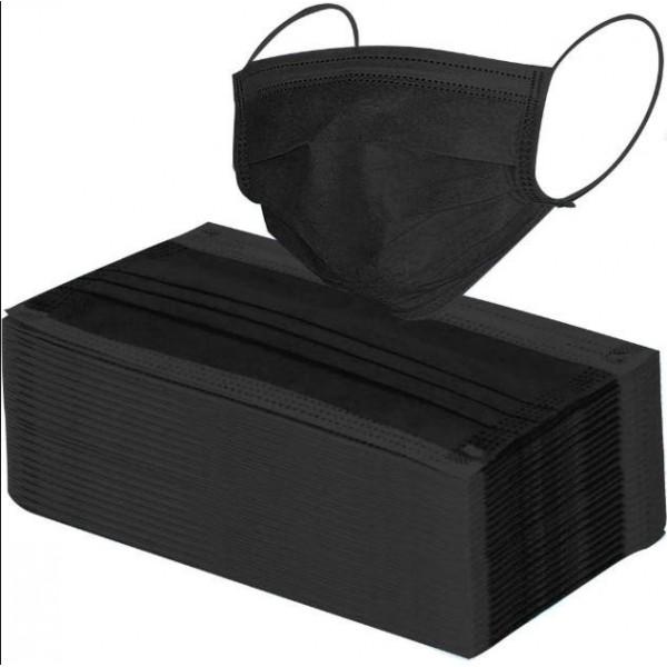 Masque De Protection Jetable Noir 3 Plis Avec Barrette Nasale 25 Pièces