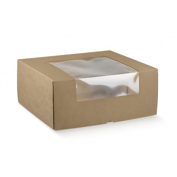 Traiteur dozen met venster in vlakkarton ( 10 stuks)