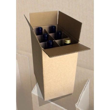 Caisse d'expédition pour bouteilles avec croisillons renforcés