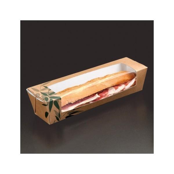 BOITE SANDWICH AVEC FENETRE - BAGUETTE 26x6,5x6,2 CM HAVANE CARTON (45 UNITÉS)