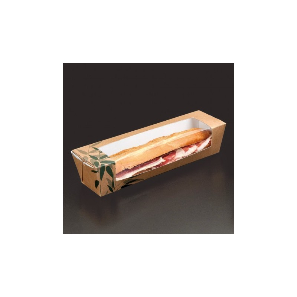 BOITE SANDWICH AVEC FENETRE - BAGUETTE 26x6,5x6,2 CM HAVANE  (45 UNITÉS)