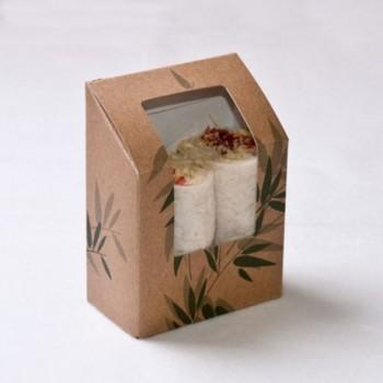 Boite tortilla et wrap kraft brun avec fenêtre 9,2x5,1x9,2/12,5 cm  ( 100 unités) sur commande