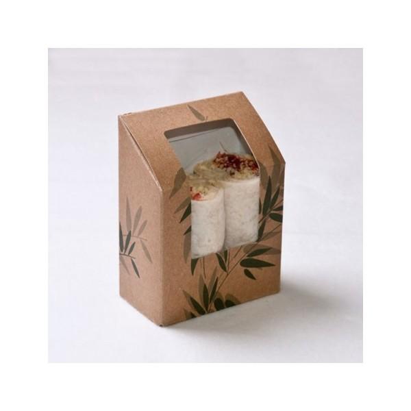 Boite tortilla et wrap kraft brun avec fenêtre 9,2x5,1x9,2/12,5 cm  ( 100 unités)