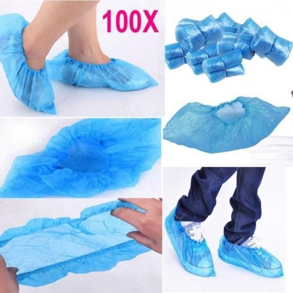 Couvre-chaussures jetables en Pe Bleu 100 pièces