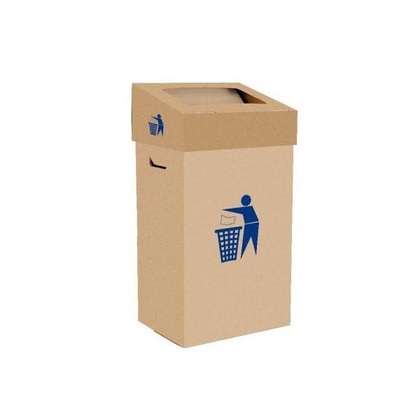 Poubelle 75 L en carton marron avec couvercle basculant
