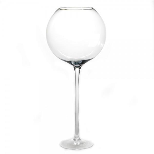 Glazen ronde vaas op voet 50 cm