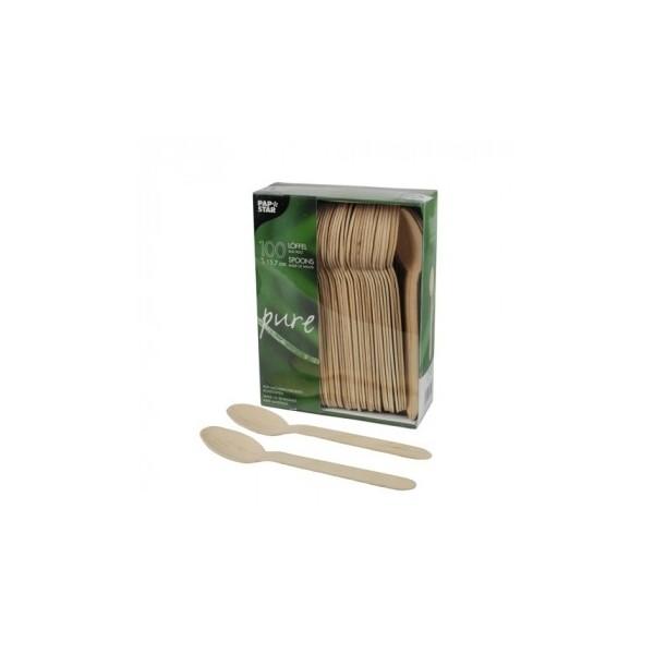 100 Cuillères de bois 'pure' 15,7 cm