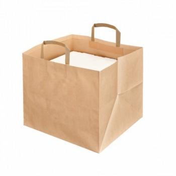 Papieren draagtassen voor traiteurs/pizzadozen ( 125 stuks)